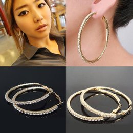 Wholesale Gold Studded Earrings - fashion crystal earring Studded Hoop Earrings Valentine's Day gold earring jewelry for party color Hoop 30mm~70mm