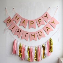 Wholesale Pink Paper Garland - Shiny Gold Letters Happy Birthday Pink Flag Banner +15 pcs DIY Kits Tissue Paper Garland Tassel, Party Decoration Kit