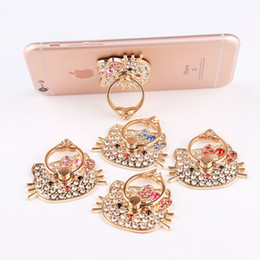 Wholesale Metal Kitty - Hot Selling Cut Hello Kitty Metal Diamond Ring Stander for Apple Phone Android Universal Quality Finger Holder