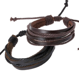 Wholesale Handmade Leather Bracelets For Men - 100% Handmade Men's Genuine Leather and Rope Braided Bracelets Jewelry for Women Men Great Price Mix Order Factory Price Wholesale