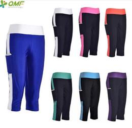leggings de longitud recortada Rebajas Secado rápido para mujer Running Workout Capris Leggings Negro Foldover Sports Crop Medias con bolsillo Compression Trouser 3/4 Length
