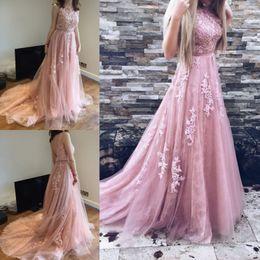 Wholesale Navy Blue Romantic Evening Dress - 2017 Romantic Pink Long Tulle Evening Dresses 2017 Vestidos A Line Arabic Pageant Gowns Prom Dresses with Appliques Long