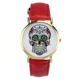 Wholesale watch woman leather skull - New Fashion Punk Skull Women Men Dress Quartz Leather Rivets Bracelet Watches Lady Crystal Casual Watch Relogio Feminino