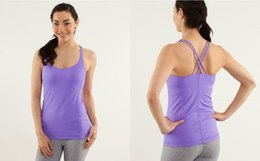 Wholesale Outdoor Yoga Clothing - Lulu Yoga Tops for Women with Logo Sexy Casual Candy Colors with Bra Sleeveless Tanks Sports Fitness Outdoor Tees Clothes XXS-XL