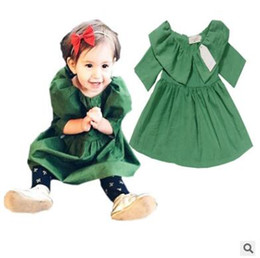 Wholesale Canvas Brand Clothing - Baby Dress 2017 Summer Cotton Green Princess Dress for Girls Cute Big Turn-down Collar Dresses Ins Clothes Toddler Boutique Infant Clothes