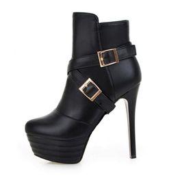 Stivali al cielo online-Stivaletti con tacco a spillo Sky con cinturini incrociati e spesse scarpe da party con plateau per le donne della moda PP179