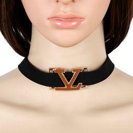 Wholesale Velvet Choker Necklaces - hot sale high quality latest trendy Fashion designer popular simple lady woman metal letter velvet choker necklace