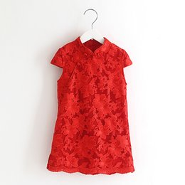 Wholesale Wholesale Cheongsam Red - Elegant Girl National Style Collar Dress Chinese Cheongsam Baby Children Party Lace Dress Red And Blue Color Clothing