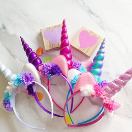 Wholesale Wholesale Glitter Flowers - Children DIY Glitter Metallic Unicorn Headband Baby Girls And Kids Easter Bonus for Flowers Party cosplay Halloween DIY Hair Accessoriess