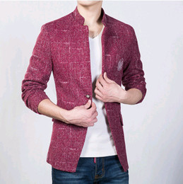 Wholesale Gray Wool Jacket High Collar - Man Suits Jacket High Quality Top Selling Time-limited Woolen Regular Length Single-Breasted 4 colors Mens Blazer Men Wool Blazers
