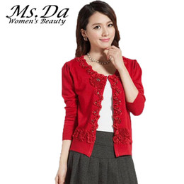 Wholesale Womens Orange Coats - Wholesale- 2016 Womens Plus Size Sweater Cardigans Winter Floral Embroidery Woman Casual Sweater Coat Tops Red,Black,Gray,Orange 3XL,XXL,XL