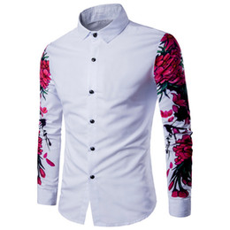 Wholesale Floral Designs Patterns - 2018 New Arrival Man Shirt Pattern Design Long Sleeve Floral Flowers Print Slim Fit man Casual Shirt Fashion Men Dress Shirts