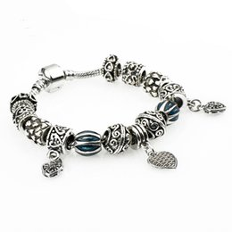Wholesale Owl Silver Cuff Bracelet - European Authentic BEADS jewelry silver plated owl beads blue crystal Charm bracelets for women Original DIY Jewelry