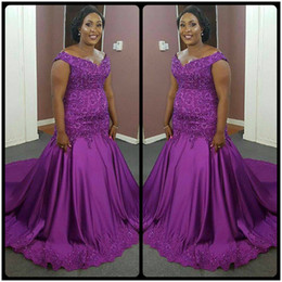 Wholesale Dress Gril Blue - Elegant Purple Plus Size Mermaid Evening Dresses African Lace appliques Beads Long Black Gril Gowns robe de soiree