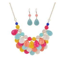 Wholesale Chunky Earrings Wholesale - Fashion Bohemian Jewelry Sets Earring New Women's Chunky Statement Bib Necklace Chocker Necklace Acrylic Water Drop Tassel Pendant Charm