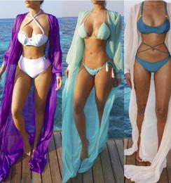 Wholesale Pareo Cover Up - 2017 new Women Rash Guards Solid lace cardigan ladies Pareo Beach Dress Bohemian Sarong Chiffon Beach Long sleeves Bikini Cover Up