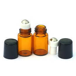 Wholesale Mini Fragrances Wholesale - 50pcs Mini Perfume Sample Liquid Empty Roll Amber Glass Bottle Essential Oil Liquid fragrance 2ml Metal Roller on Bottle