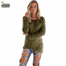 Wholesale Women S Cashmere Sweaters Wholesale - Wholesale-FITONG Women Sweaters and pullovers Women Long Sleeve Round Neck Knitted Sweater Solid cashmere sweter mujer pull femme hiver