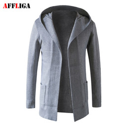 Wholesale Long Sweater Trench Coat - Wholesale- 2017 Men Sweater Wool Knitted Male Cardigan Jacket Slim Fit Casual Long Sleeve Trench Mens Sweaters Brand Hooded Coat Tops
