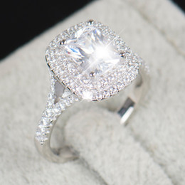 Wholesale R Cluster - Wholesale- 2016 Top quality R&J Brand Bridal 100% Solid 925 Sterling Silver Ring Cake Engagement Wedding Fine rings Jewelry For Women