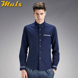 Wholesale Best Clothing For Men - Wholesale- Casual male shirts Muls brand clothing cotton oxford men shirts for man long sleeve plus size M-4XL 2016 Fashion best shirt 1801