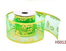 Wholesale Wholesale Webbing Rolls - Bronzing ribbon polyester webbing DIY manual ribbon roll ceiling decoration gold foil ribbon holiday gift box packaging HS11-20