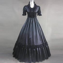 2020 vestido negro victoriano corto Puede ser personalizado 2015 Retro Mangas cortas negras Patchwork del siglo XVIII Vestido victoriano lolita victoriana vestido negro victoriano corto baratos