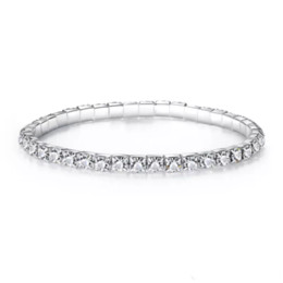 Wholesale Silver Ball Bangle - Cheap 1 Wedding Jewelry Bracelet Row Stretch Bangle Silver Rhinestones Prom Homecoming Party Evening Jewelry Bracelet Bridal Accessories