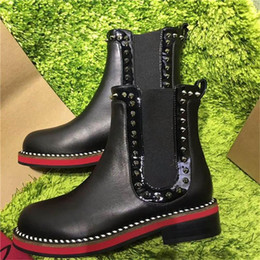 Wholesale Plastic Cowboys - 2017 Paris Winter Boots Women Rivet Genuine Leather Chain Rivet Pumps Slip on Leather Shoes Black Gold Luxurious Brand Short Boots