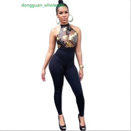 Wholesale Backless Halter Bodysuit - 2017 Women Sequin Embroidery Rompers Elegant Halter Backless Bodycon Long Bodysuit Femme Sexy Transparent Overalls Club Jumpsuit