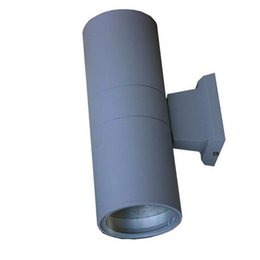 Wholesale Head Cylinders - Wholesale-2Heads cylinder grey LED waterproof courtyard garden wall lamp   over door head   EXTERIOR   aluminum wall lamp fixture housing