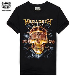 Wholesale Tee Shirt Heavy Metal - [Men bone] Men T Shirt Black T-Shirt Tshirt Men's Shirt Cotton Megadeth Skull Print Heavy Metal Hip Hop Rock Summer Style Tee