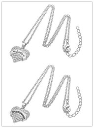 Wholesale Brides Necklace Charms - Link chain Clear Crystal Heart Wedding BRIDE and BRIDMAID Pendant Necklaces Antique Silver Color Jewelry for Woman and Men