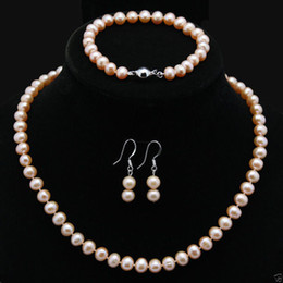 Wholesale Golden Akoya Pearls - Natural 7-8mm Pink Akoya Cultured Pearl Necklace Bracelet Earrings Jewelry Set