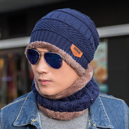 wholesale velvet suit set Coupons - Winter Hat Scarf Set Men Knitted Cap With Velvet Warm Hat Thickening Suit