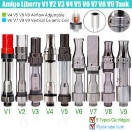 Wholesale V5 Pens - Original Amigo Liberty V1 V3 V4 V5 V6 V7 V8 V9 Tank Cartridges 510 Thick Oil O pen BUD CO2 wax Vaporizer Airflow Ceramic Coils Atomizers