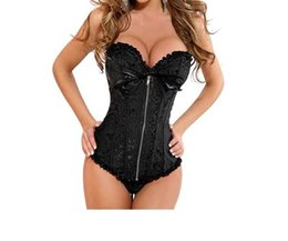 Wholesale Front Zip Bustier - Bridal Undergarments Carnival Sexy Zip Front Overbust Corset Jacquard Floral Lace Up Boned Shapewear Bustier Clubwear Plus Size S-2XL