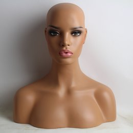 Wholesale Female Mannequin Head Bust - New Item Realistic Female Black Fiberglass Mannequin Dummy Head Bust For Lace Wig And Jewelry Display EMS Shipping