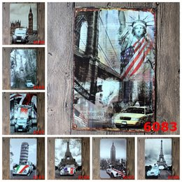 Wholesale Home Pubs - Sign Painting Statue of Liberty Eiffel Tower Telephone Booth Vintage Craft Tin Wall Retro Metal Poster Bar Pub Signs Room Wall Art Sticker