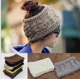 Wholesale Crochet Women Headbands Wholesale - fashion women wide crochet headband Hot winter Messy Bun empty wool hats womens wool caps wide headbands ladies hats beanies ear warmer