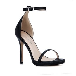 Wholesale Cheap Custom Heels - Black Real Women Sandals 2017 Cheap Modest Ladies Party Shoes High Thin Heels Custom Made Party Shoes Chaussures Femme Summer Style