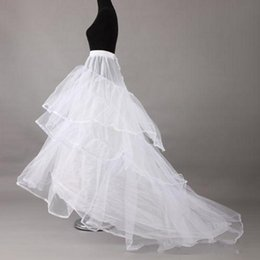Wholesale Long Train Underskirt Bridal - Hot New Long Sweep Train A line Wedding Petticoats 2017 Three Hoops White Tiered Crinolines Underskirt For Bridal Dress 2017