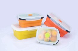 Wholesale Bento Tools Wholesale - Free Shipping Silicone Collapsible Portable Lunch Box Bento Boxes Folding Food Storage Container Lunchbox Microwave Dinnerware Tools