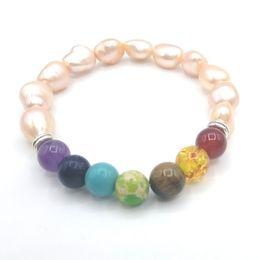 Wholesale Amethyst Pearls - JLN Healing Stone Yoga Bracelet Baroque Freshwater Pearl Amethyst Lapis Turquoise Imperial Jasper Amber Chakra Bracelets For Gift