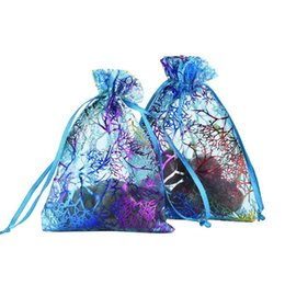 Wholesale Wholesale Drawstring Gift Bags - 100 Pcs Blue Coral Fashion Organza Jewelry Gift Pouch Bags 7x9cm (2.7X 3.5 inch) Drawstring Bag Organza Gift Candy Bags DIY Gift Bags