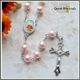 Wholesale Holy Cross Necklaces - Free Shipping Religious Gifts Girl's Pink Pearl Rosary Catholic Glass Rosary Necklace Saint Picture Cross Rosary Holy Baptism Favors