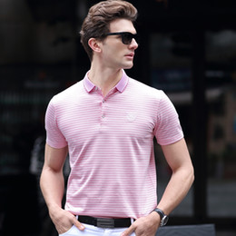 Wholesale Mens Stripped Shirts - Cotton High quality mens t shirts for men poloshirt shirt men polo shirt for boys polo shirts summer plus size tops strip PSL-006