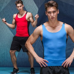 Wholesale Tight Gym Shirts Men - Gyms Clothing Bodybuilding Tank Top Men Sportwear Fitness Singlet Sleeveless Shirt Workout Compression Tight-fitting Gyms Vest