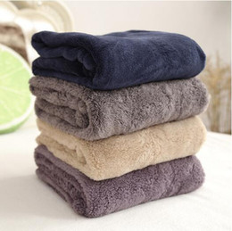 Wholesale Wholesale Velvet Shawls - 70*100cm Coral Velvet Blanket Solid Color Shawl Nap Travel Blankets Velveteen To Work In An Office Autumn And Winter CCA6468 100pcs