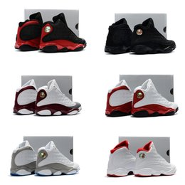 Wholesale Hard Girl - 13s Bred basketball shoes for kids Retro 13 Black cats History of Flight Sports sneaker boy and girl children athletic footwear